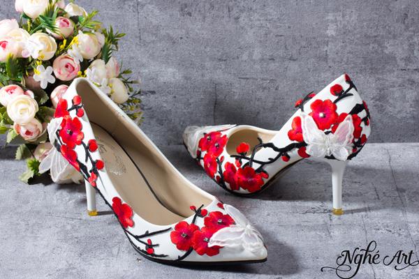 Giày cưới hoa đỏ 042 - 9 phân