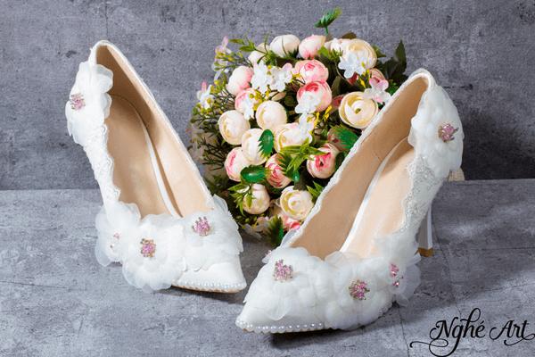 Giày cưới ren trắng 094 - 9 phân