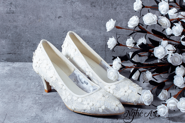Giày cưới ren trắng 101 - 6 phân