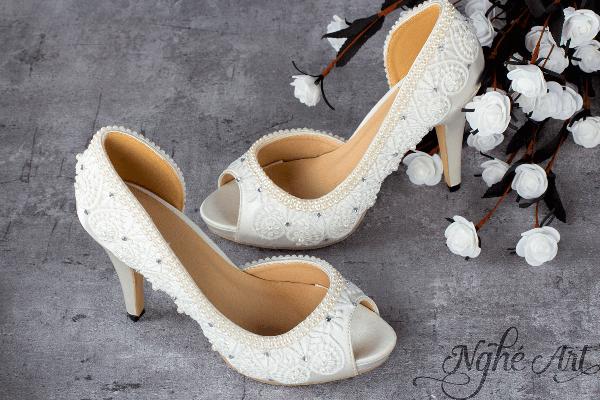Giày cưới satin ngọc 121 - 10 phân