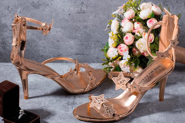 Giày cưới sao nhũ đồng 126 - 8 phân