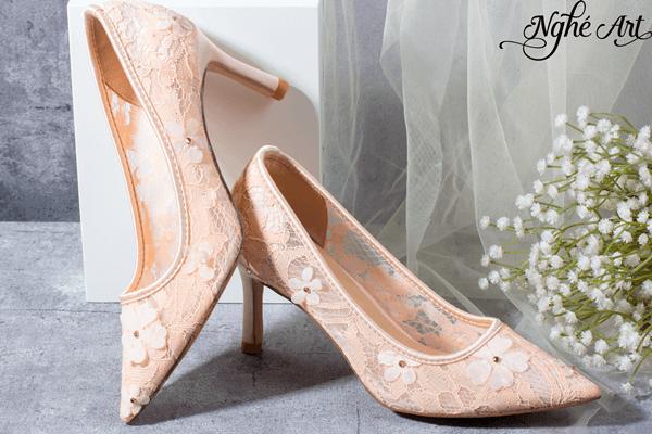 Giày cưới ren 3D hồng 148 - 6 phân