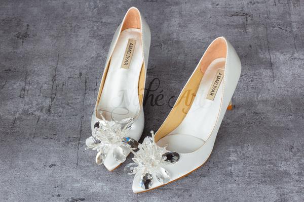 Giày cưới satin thủy tinh 143 - 7 phân