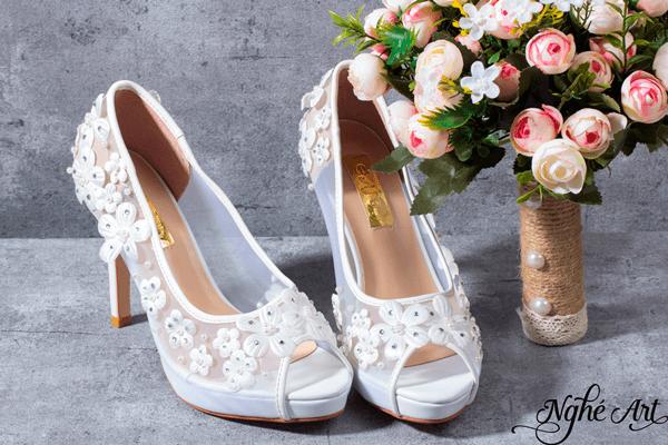Giày cưới ren trắng 049 - 10 phân