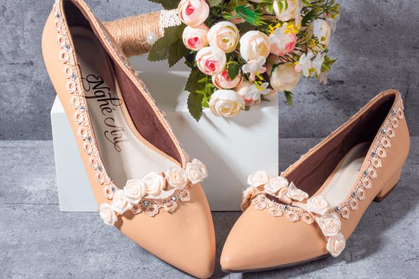 Giày cưới hoa hồng da 151 - giày bệt