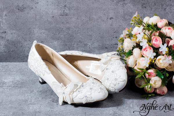 Giày cưới ren trắng 023 - 3 phân