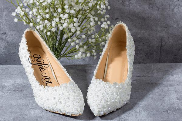 Giày cưới ren trắng 001 - 8 phân