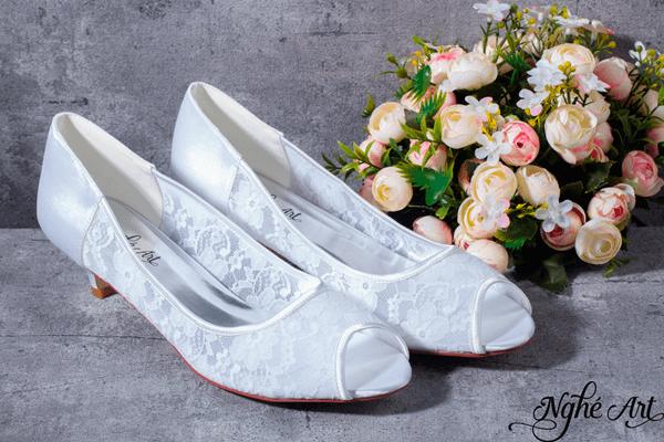 Giày cưới ren trắng 154 - 4 phân