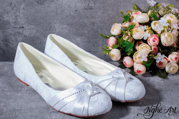 Giày cưới satin trơn 156 - giày bệt