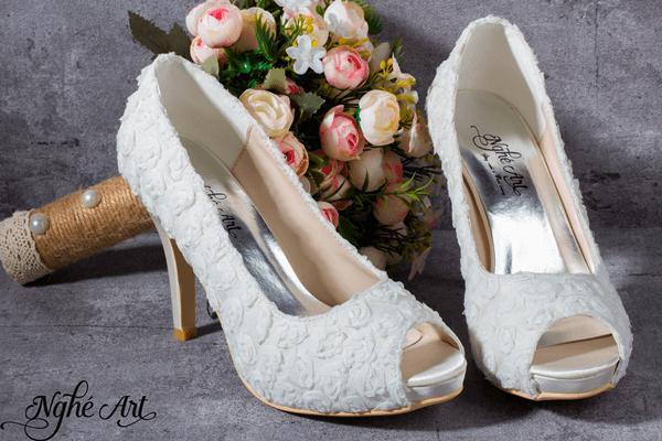 Giày cưới hoa hồng 159 - 11 phân