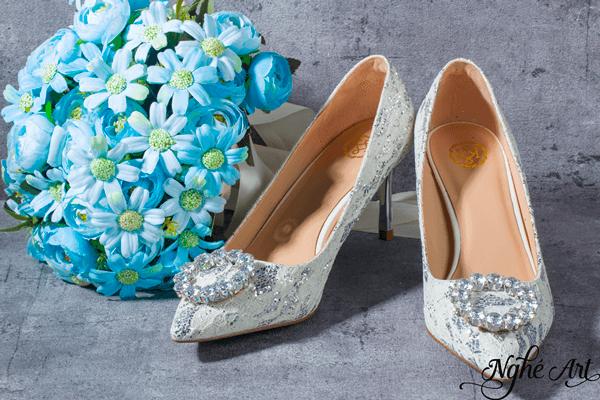 Giày cưới ren kim tuyến 160 - 7 phân