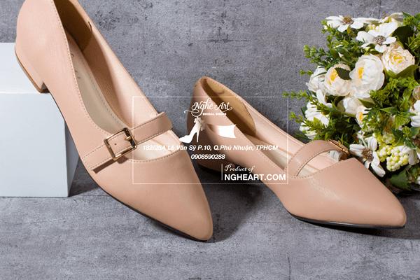 Giày cưới trơn bệt kem 165 - giày bệt