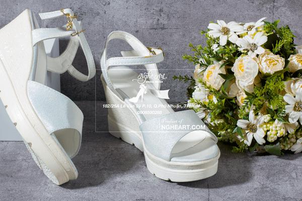 Giày cưới xuồng trắng 174 - gót xuồng 8 phân