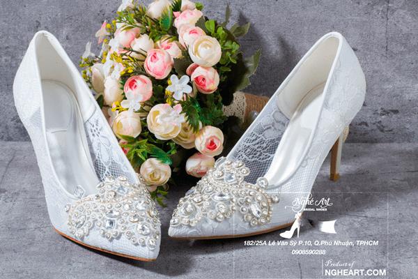 Giày cưới ren đính đá 173 - 9 phân