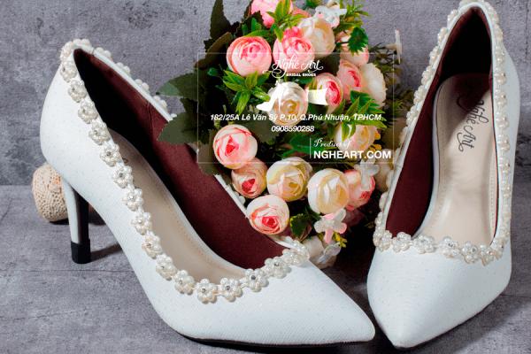 Giày cưới ren viền hoa 188 - 8 phân