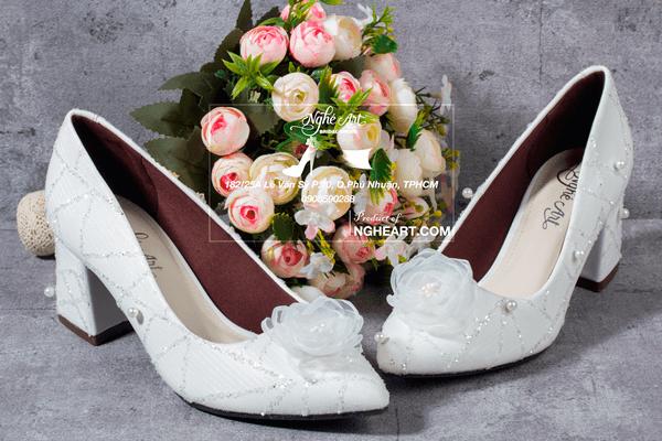 Giày cưới kim tuyến ngọc trai 184 - 6 phân