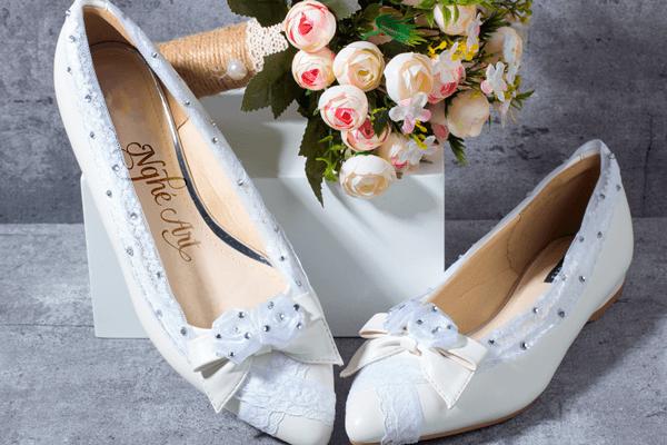 Giày cưới ren trắng 150 - giày bệt