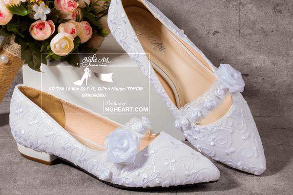 Giày cưới bệt ren hoa 186 - giày bệt