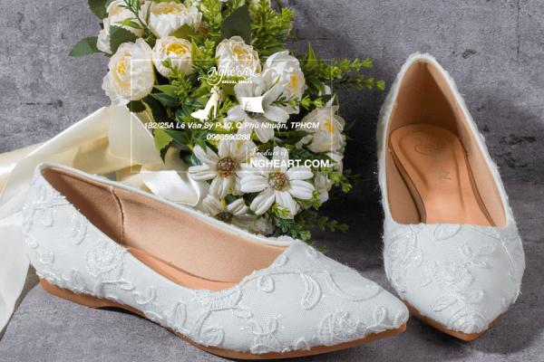 Giày cưới bệt ren thêu hoa 201 - giày bệt