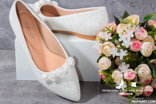 Giày cưới bệt lưới kim tuyến hoa hồng 200 - giày bệt