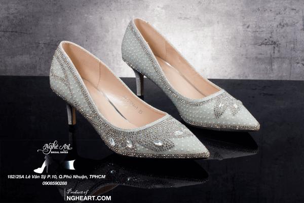 Giày cưới Nghé Art đính đá pha lê 178 - 6 phân