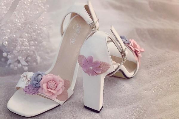 Giày cưới Nghé Art sandal hoa hồng gót 9 phân 239 - 9 phân