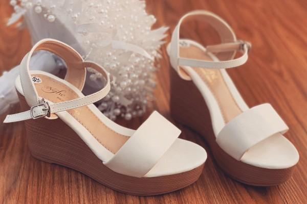 Giày cưới Nghé Art basic đế xuồng nâu quai sandal 256 - 8 phân gót xuồng