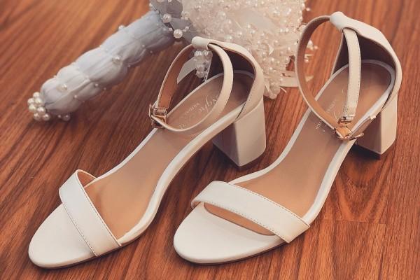 Giày cưới Nghé Art basic quai sandal trắng 252 - 5 phân