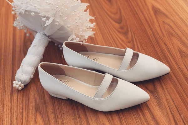 Giày cưới Nghé Art basic bệt quai ngang 164 - 2 phân