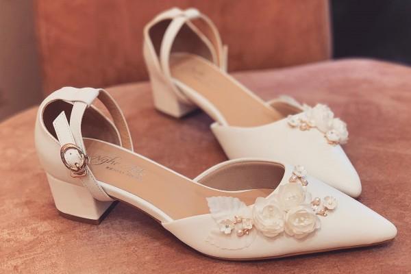 Giày cưới Nghé Art sandal gót vuông 3 phân 228 - 3 phân