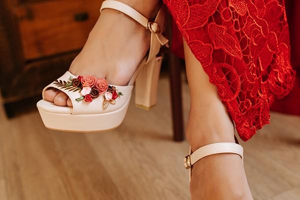 Giày cưới Nghé Art hoa đỏ 281 - 12 phân mũi đúp 3 phân