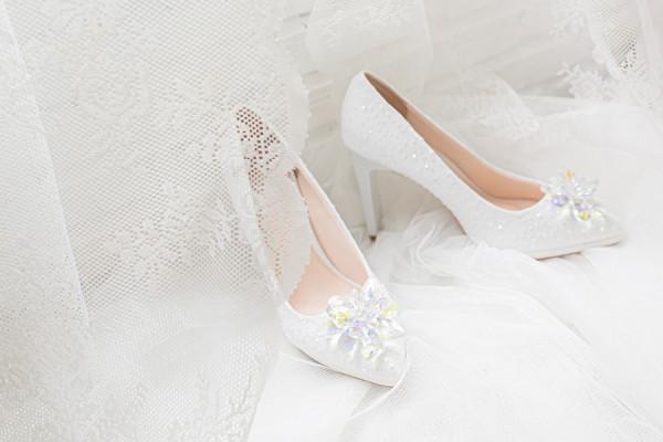 Giày cưới Nghé Art ren kim hoa đá 287 - 10 phân mũi đúp 1.5