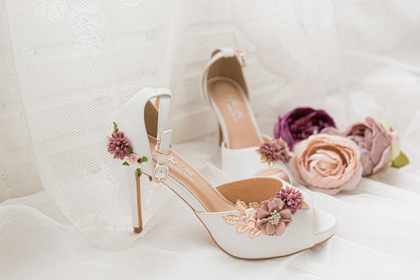 Giày cưới Nghé Art đính hoa 279 - 10 phân mũi đúp 1.5