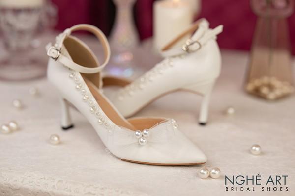 Giày cưới Nghé Art cao gót nơ ngọc trai 294 - 7 phân