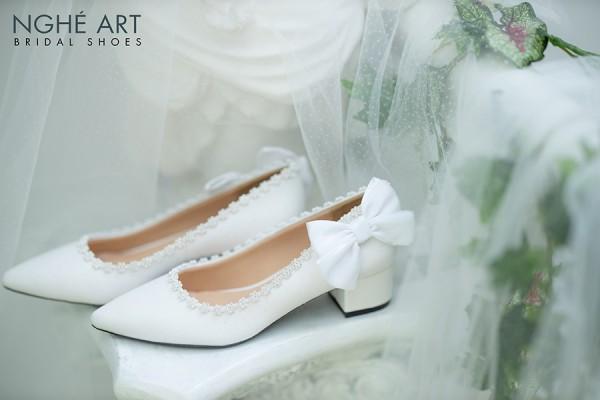 Giày cưới Nghé Art gót vuông 199 - 4 phân