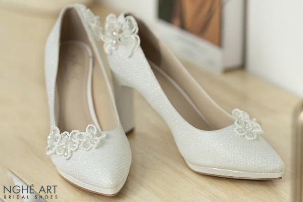 Giày cưới Nghé Art bọc lưới ánh nhũ 7 màu đính hoa đá 267 - 10 phân mũi đúp 2