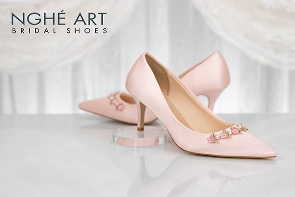 Giày cưới Nghé Art satin hồng nhánh kim loại 313 - 7 phân