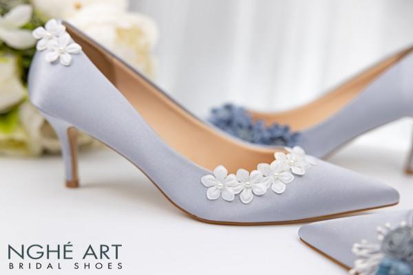 Giày cưới Nghé Art satin xám hoa bưởi 315 - 7 phân