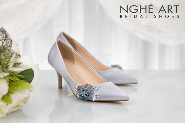Giày cưới Nghé Art lụa satin hoa 316 - 7 phân