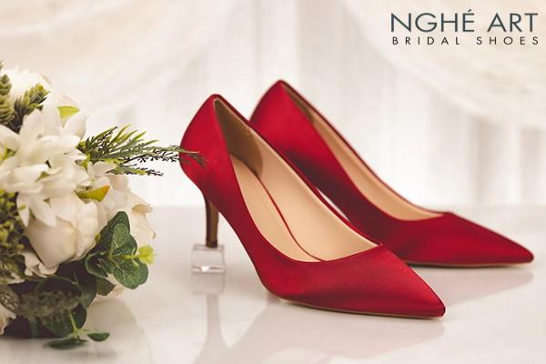 Giày cưới Nghé Art satin trơn 305 - 7 phân đỏ
