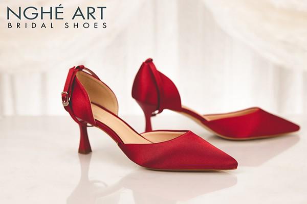 Giày cưới Nghé Art lụa satin đỏ có dây quai 318 - 6 phân