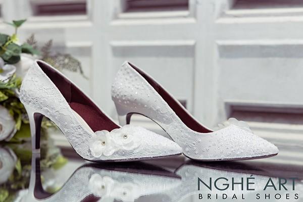 Giày cưới Nghé Art handmade kim tuyến đính hoa voan 266 - 8 phân