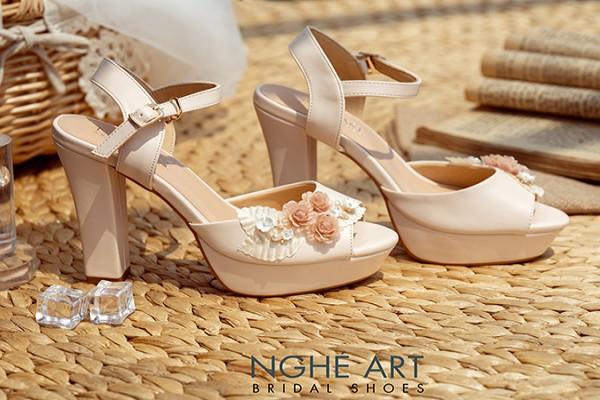 Giày cưới Nghé Art hoa voan đính nhánh hoa kim loại 284 - Nude