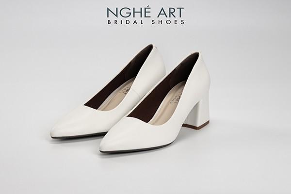 Giày cưới Nghé Art basic bít mũi trắng gót vuông 166 - 6 phân