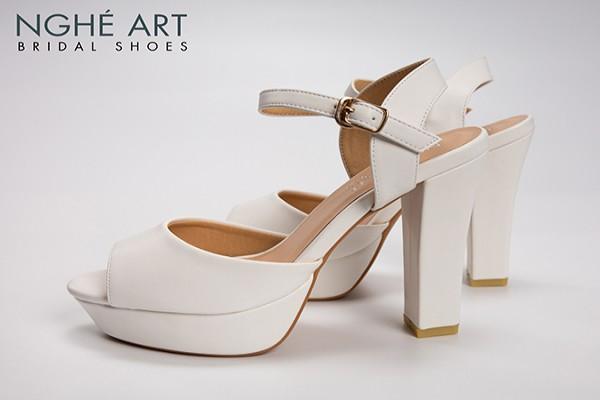 Giày cưới Nghé Art basic cao gót 12 phân quai sandal mũi đúp 203 - Trắng