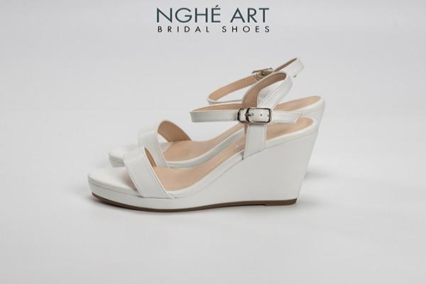Giày cưới Nghé Art basic đế xuồng quai sandal 236 - Trắng