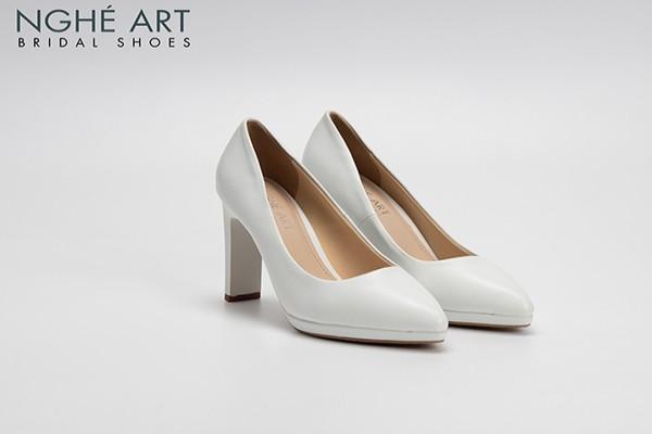 Giày cưới Nghé Art basic mũi đúp trắng 237 - Trắng