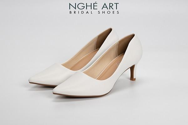 Giày cưới Nghé Art basic bít mũi 227 - Trắng