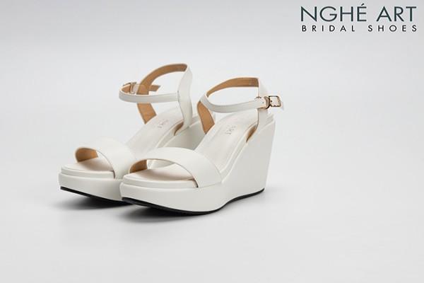 Giày cưới Nghé Art basic cao gót đế xuồng 304 - Trắng