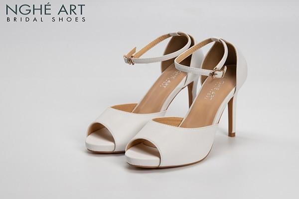 Giày cưới Nghé Art basic cao gót quai sandal 286 - Trắng